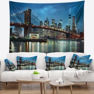 Designart 'Brooklyn Bridge and Skyscrapers' Cityscape Wall Tapestry