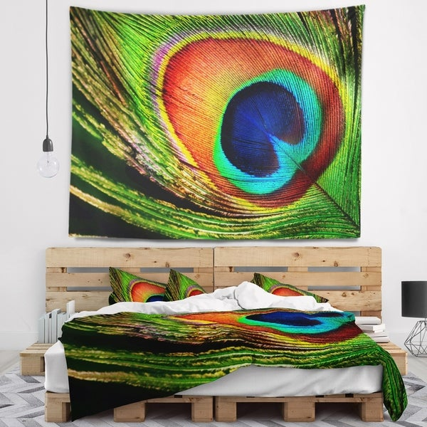 Designart 'Peacock Feather' Photography Wall Tapestry