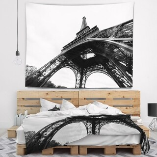 Designart 'Paris Paris Eiffel Towerin Black and White Side View' Cityscape Wall Tapestry