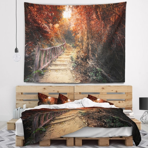 Designart 'Stairway Through Red Fall Forest' Landscape Photography Wall Tapestry