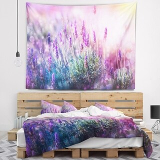 Designart 'Growing and Blooming Lavender' Floral Wall Tapestry