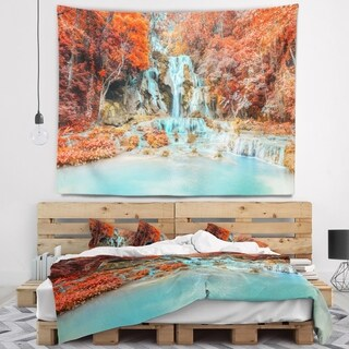 Designart 'Rainforest Waterfall Loas' Landscape Photography Wall Tapestry (4 options available)