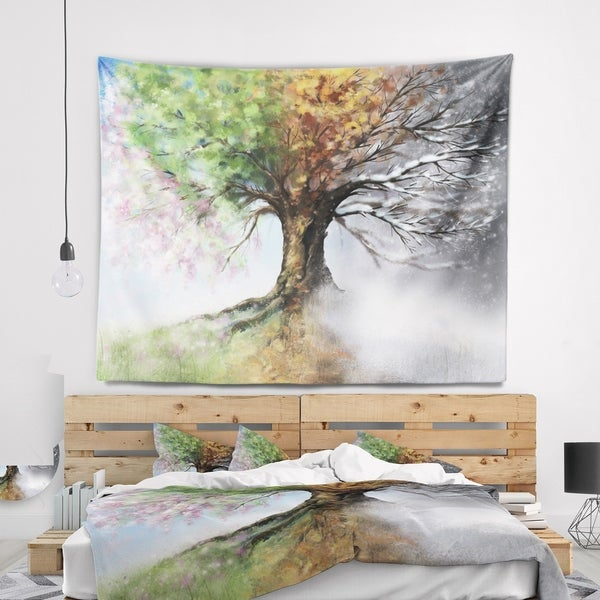 Designart 'Tree with Four Seasons' Tree Painting Wall Tapestry