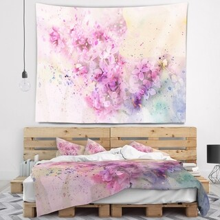 Designart 'Twig of Lilac Flowers' Floral Wall Tapestry