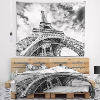 Designart 'Black and White View of Paris Paris Eiffel Tower' Cityscape Wall Tapestry