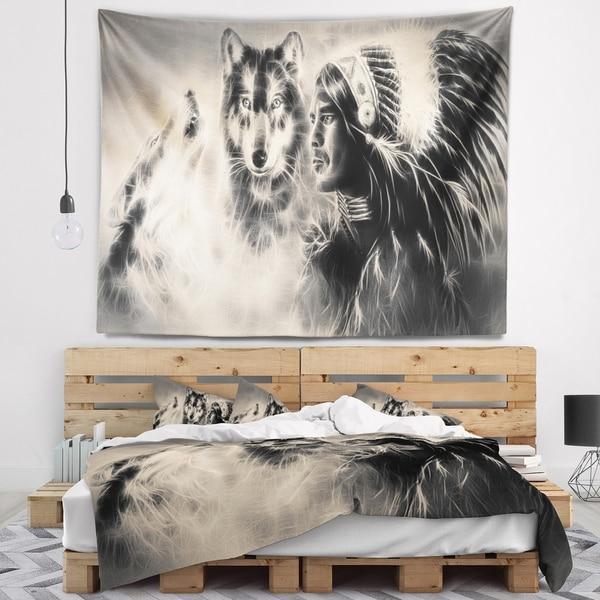 Designart 'Indian Warrior with Wolves' Abstract Wall Tapestry