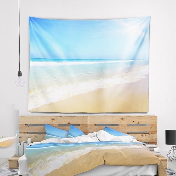 Designart 'Sun Over Tropical Beach' Seashore Photo Wall Tapestry