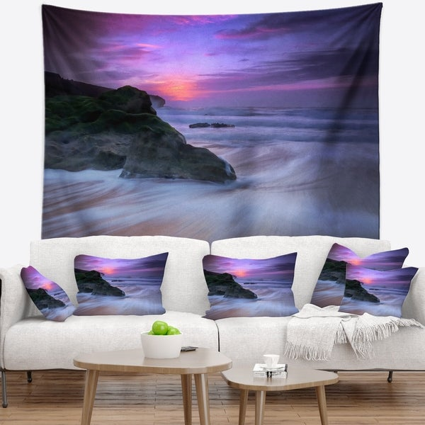 Designart 'Slow Motion Waves on Winch Beach' Seashore Wall Tapestry