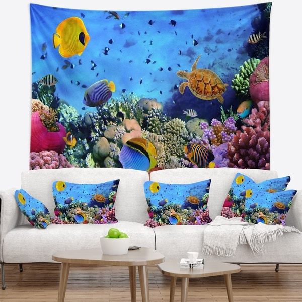 Designart 'Coral Colony and Coral Fishes' Seascape Wall Tapestry