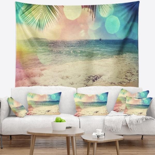 Designart 'Colorful Serenity Tropical Beach' Seashore Wall Tapestry