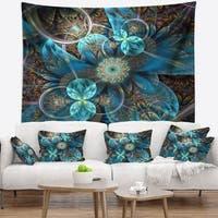 Designart 'Fractal Blue Flowers' Floral Wall Tapestry