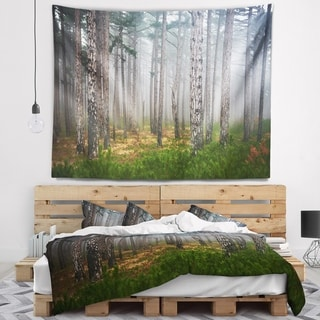 Designart 'Dense Misty Forest' Landscape Photography Wall Tapestry