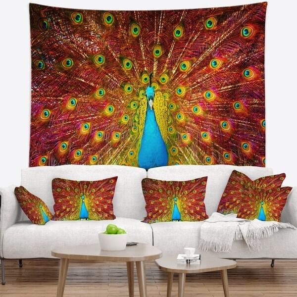 Designart 'Peacock Dancing' Animal Wall Tapestry
