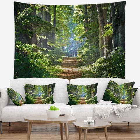 Designart 'Bright Green Forest in Morning' Landscape Photography Wall Tapestry