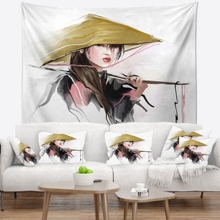 Designart 'Vietnamese Woman' Digital Art Portrait Wall Tapestry