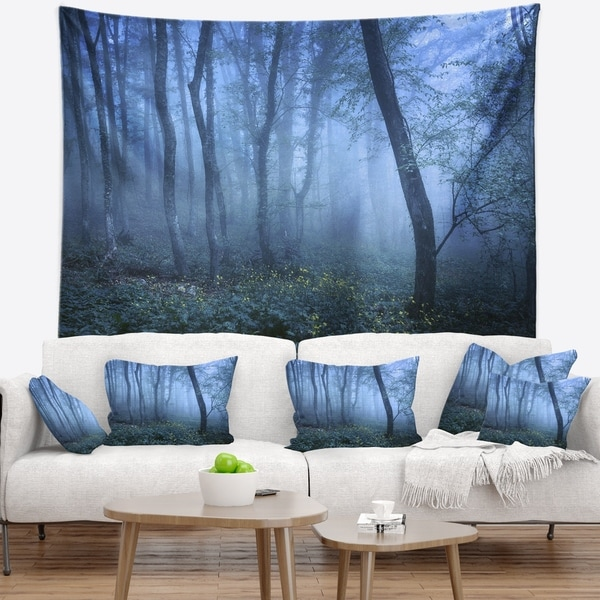 Designart 'Trail Through Blue Fall Forest' Landscape Photo Wall Tapestry