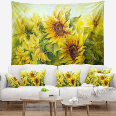 Designart 'Bright Yellow Sunny Sunflowers' Floral Painting Wall Tapestry
