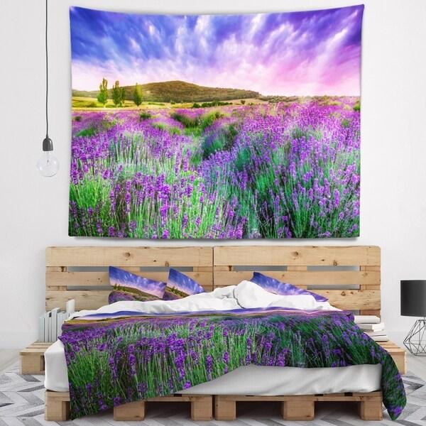 Designart 'Summer Lavender Field in Tihany' Modern Landscape Wall Tapestry