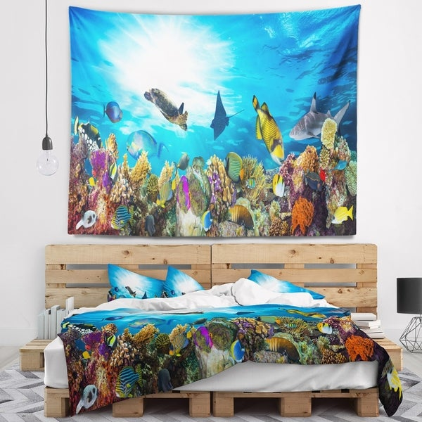 Designart 'Colorful Coral Reef with Fishes' Seascape Wall Tapestry