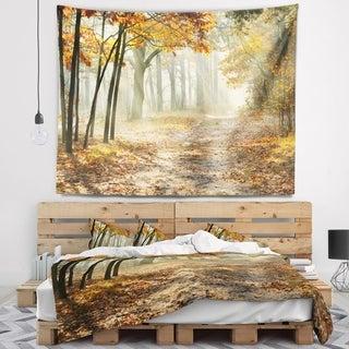 Designart 'Bright Yellow Fall Morning' Landscape Photo Wall Tapestry