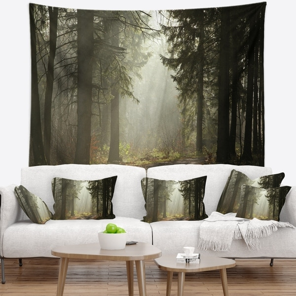 Designart 'Dark Green Forest with Sun Rays' Landscape Photography Wall Tapestry