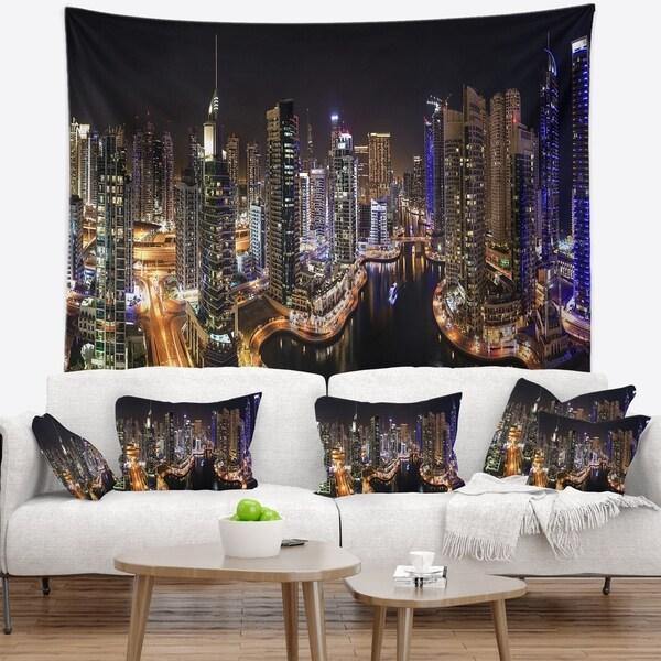 Designart 'Dubai Marina View at Night' Cityscape Wall Tapestry