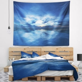Designart 'Blue Waters and Blue Sky Sunset' Modern Seascape Wall Tapestry