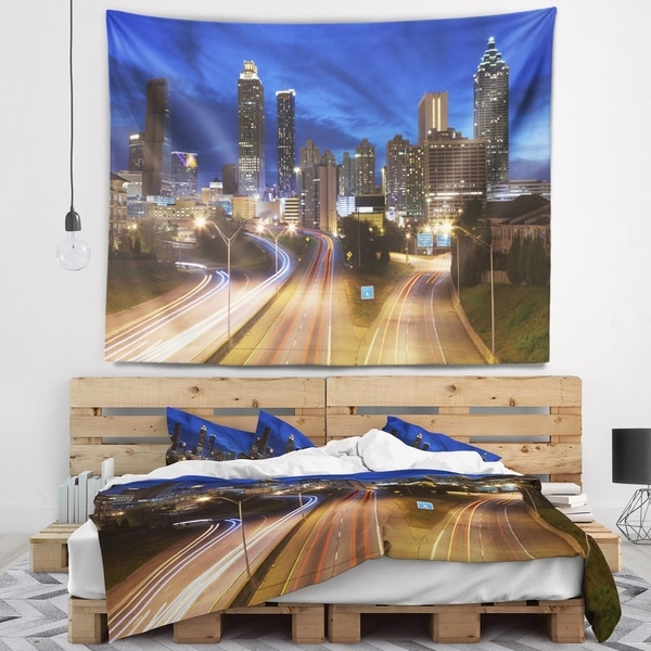 Designart 'Atlanta Skyline Twilight Blue Hour' Cityscape Wall Tapestry