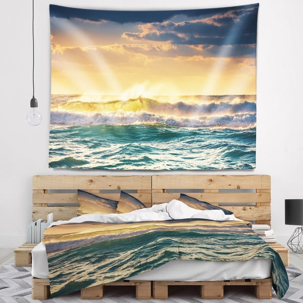 Designart 'Sunrise and Shining Waves in Ocean' Seascape Wall Tapestry