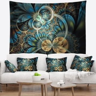 Designart 'Symmetrical Blue Gold Fractal Flower' Abstract Wall Tapestry