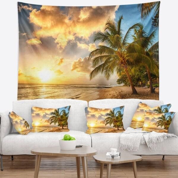 Designart 'Gorgeous Beach of Island Barbados' Modern Seascape Wall Tapestry