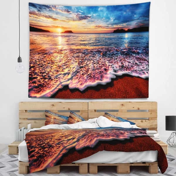 Designart 'Peaceful Evening Beach View' Seascape Wall Tapestry