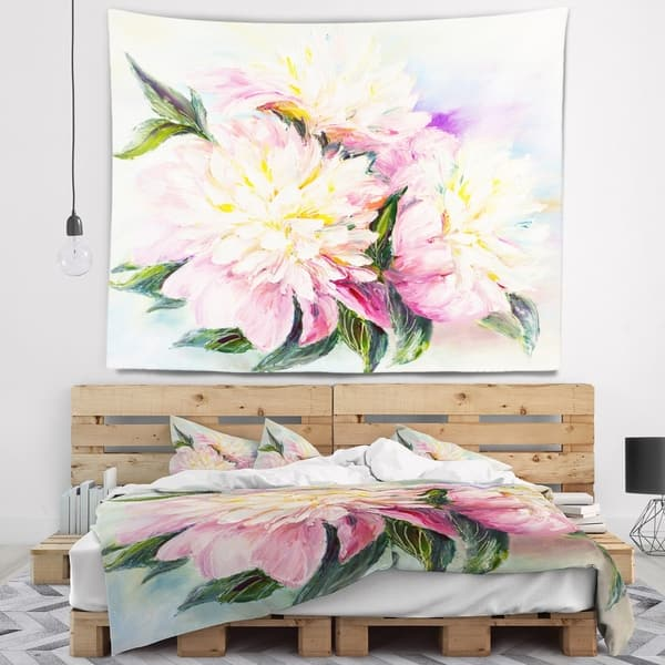 Shop Designart \'Blooming Pink Peonies\' Floral Wall Tapestry ...