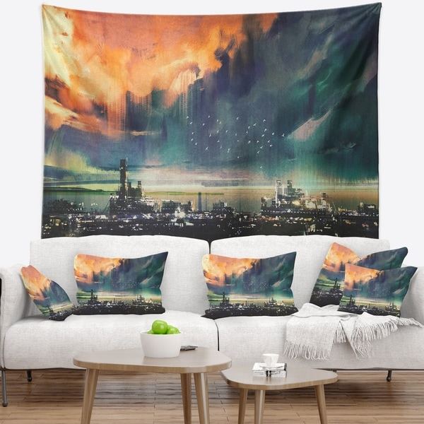 Designart 'Abstract Sci fi City Watercolor' Photography Wall Tapestry