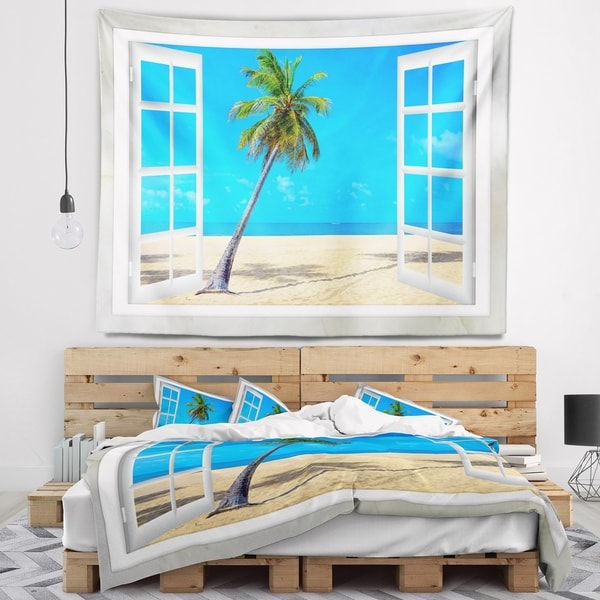 Designart 'Open Window to Beach with Palm' Seashore Wall Tapestry