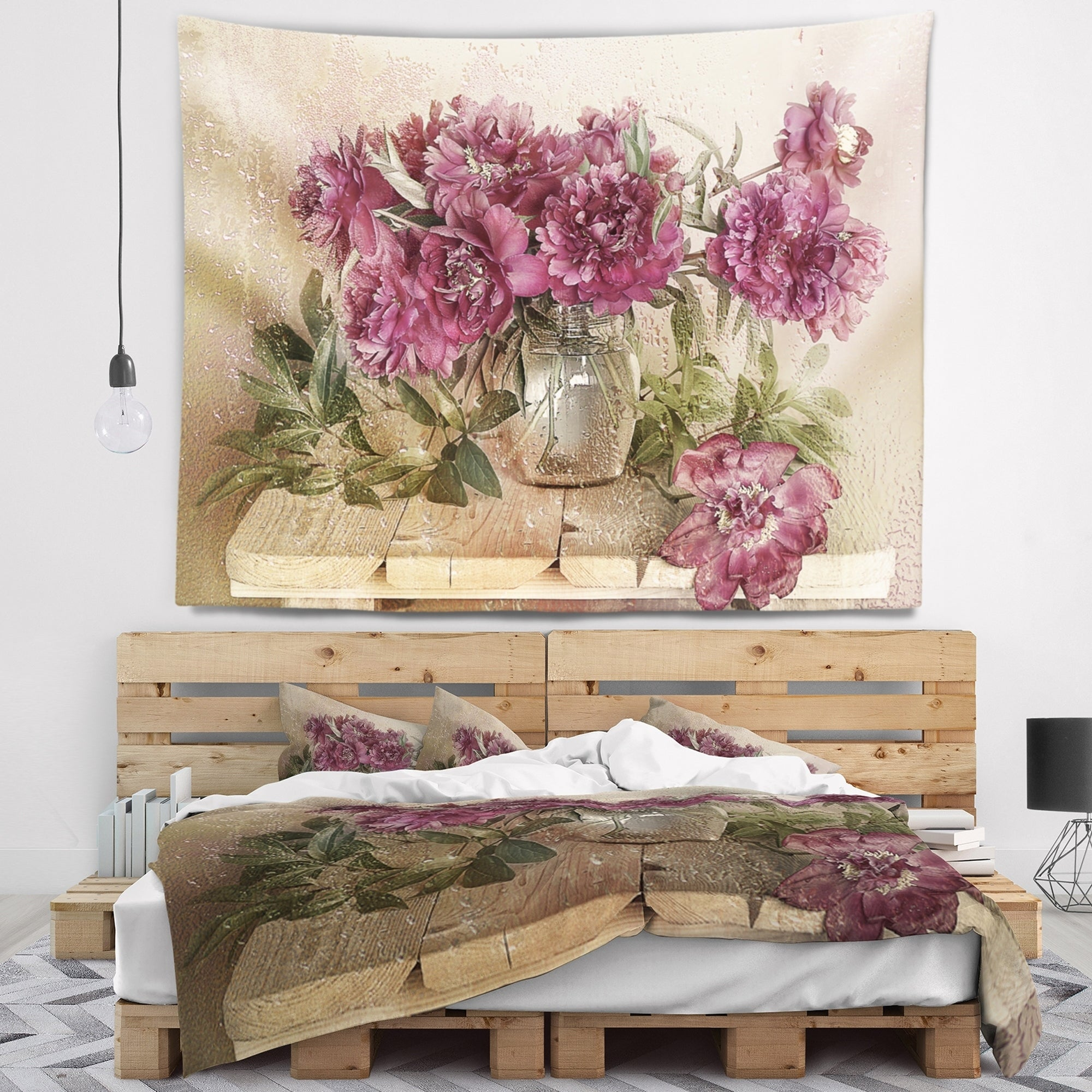 Designart \'Bouquet of Pink Peonies\' Floral Wall Tapestry | eBay