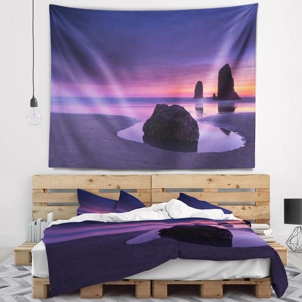 Designart 'Purple Haystack Rock' Seascape Wall Tapestry