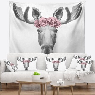 Designart 'Designart Moose with Floral Head Wreath' Moose Wall Tapestry