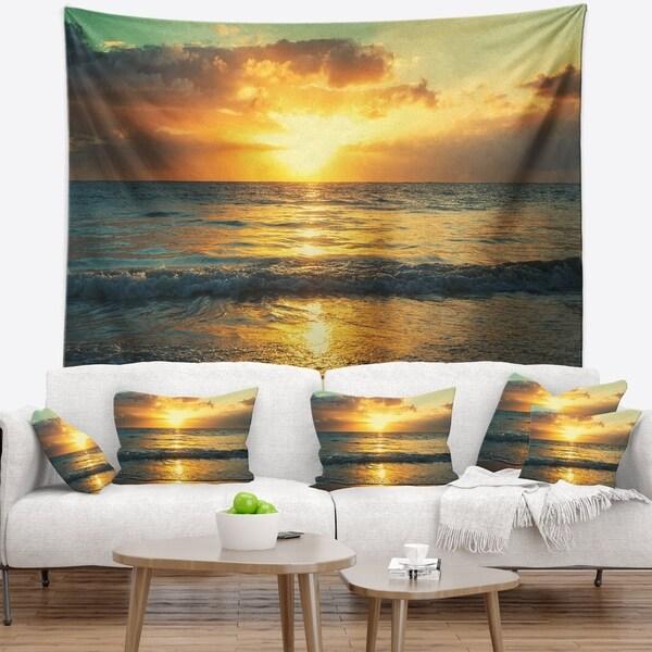 Designart 'Exotic Water and Sky Sunset Panorama' Modern Seashore Wall Tapestry