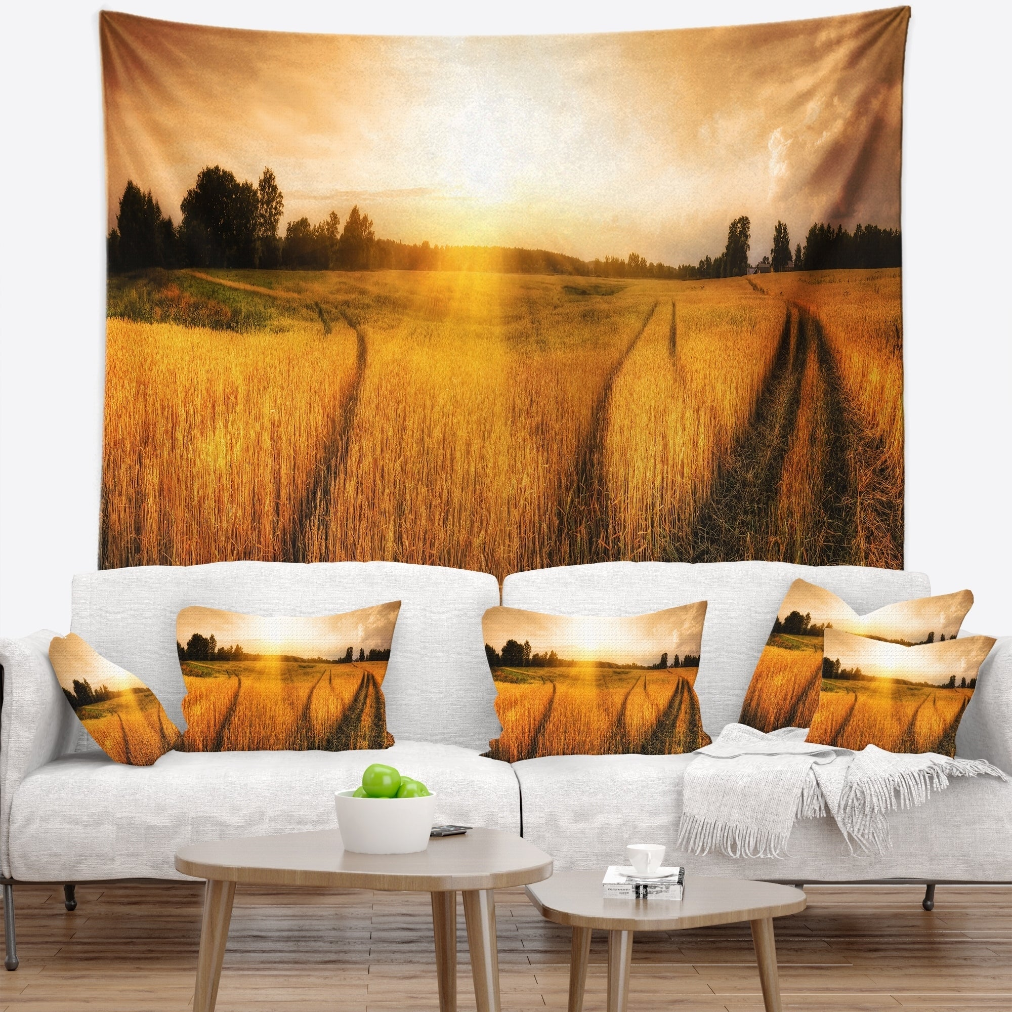 Designart Wheat Field At Sunset Panorama Photography Wall Tapestry Overstock 20885914