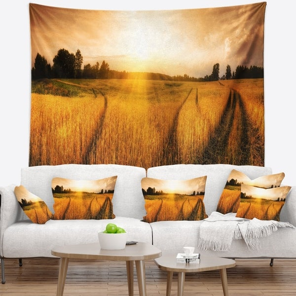 Designart 'Wheat Field at Sunset Panorama' Photography Wall Tapestry