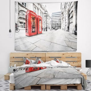 Designart 'Phone Booths on Street' Cityscape Wall Tapestry