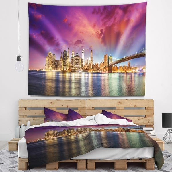 Designart 'New York Manhattan Skyline with Clouds' Cityscape Wall Tapestry