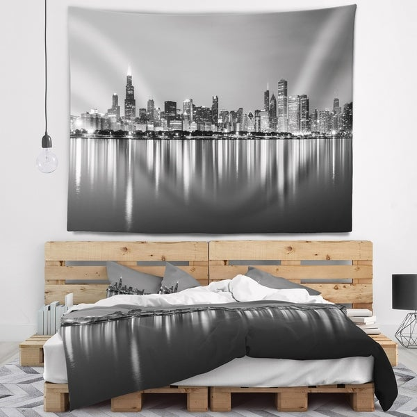 Designart 'Chicago Skyline at Night Black and White' Cityscape Wall Tapestry