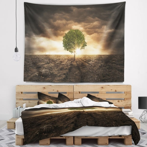 Designart 'Lonely Tree under Dramatic Sky' Landscape Wall Tapestry