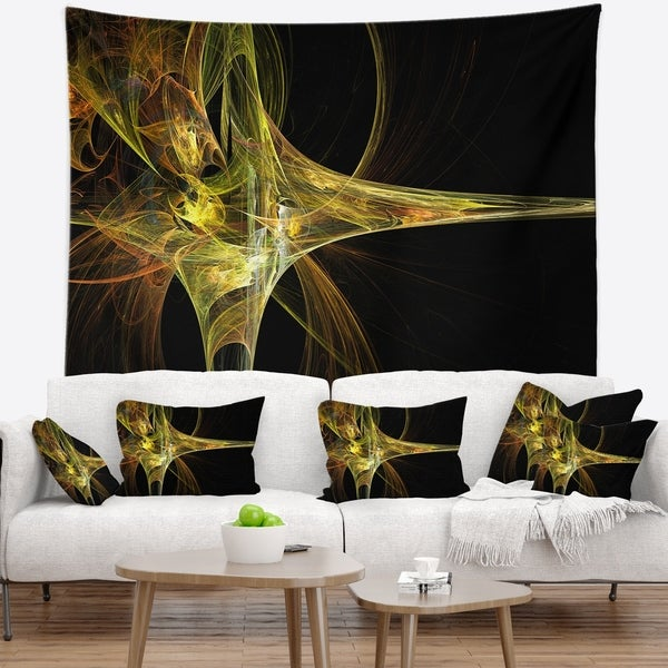 Designart 'Large Fractal Artwork Yellow' Abstract Wall Tapestry