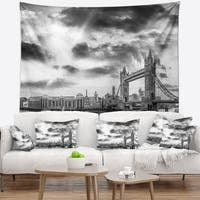 Designart 'Black and White View of London Panorama' Cityscape Wall Tapestry