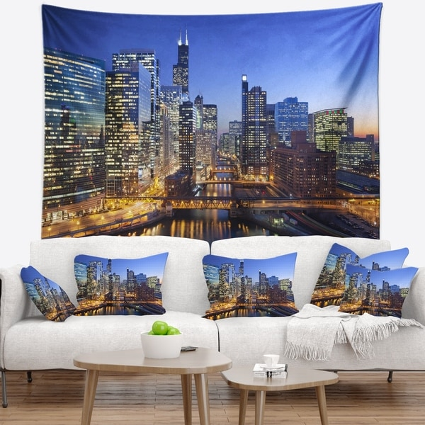 Designart 'Chicago River with Bridges at Sunset' Cityscape Wall Tapestry