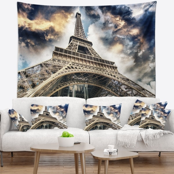 Designart 'The Paris Paris Eiffel TowerView from Ground' Cityscape Wall Tapestry
