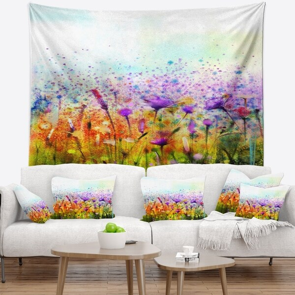 Designart 'Abstract Cosmos of Colorful Flowers' Flower Wall Tapestry